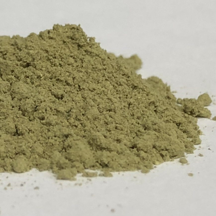 Pictured here are powdered bael leaves.  Bael leaf powder can also be used to produce an essential oil.
