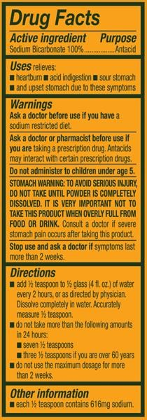 Arm & Hammer baking soda warning label. Good advice to follow when you are using baking soda internally.
