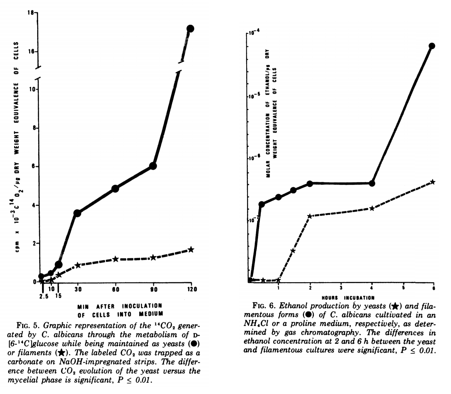LEFT CHART: C. albicans CO<sub>2</sub> production over time. The circle line shows regular cells, a star line shows hyphal cells. RIGHT CHART: C. albicans alcohol production over time. The star line shows regular cells, a circle line shows hyphal cells.