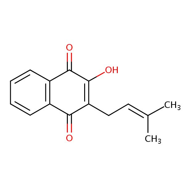 The chemical structure of lapachol is pictured here.  Lapachol in Pau D'Arco may help treat Candida infections.