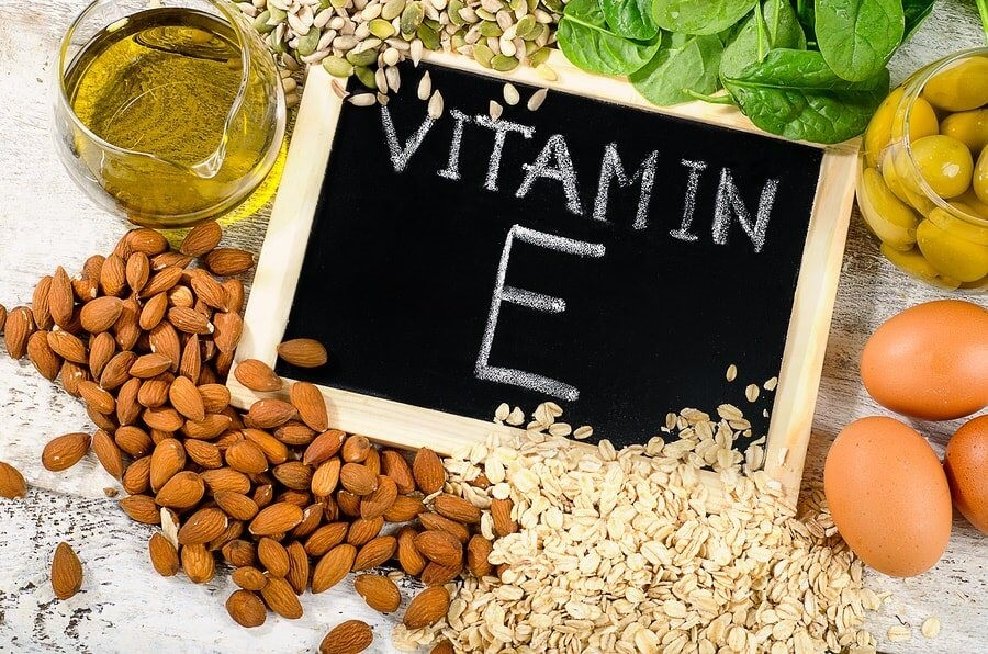 Diagram Showing Foods Rich in Vitamin E